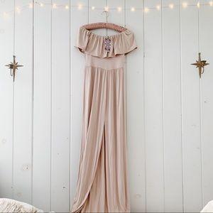 Ruffle Bandeau Slip Front Maxi Dress